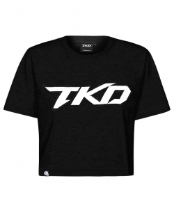 T-shirt TKD Crop top (Black - White)
