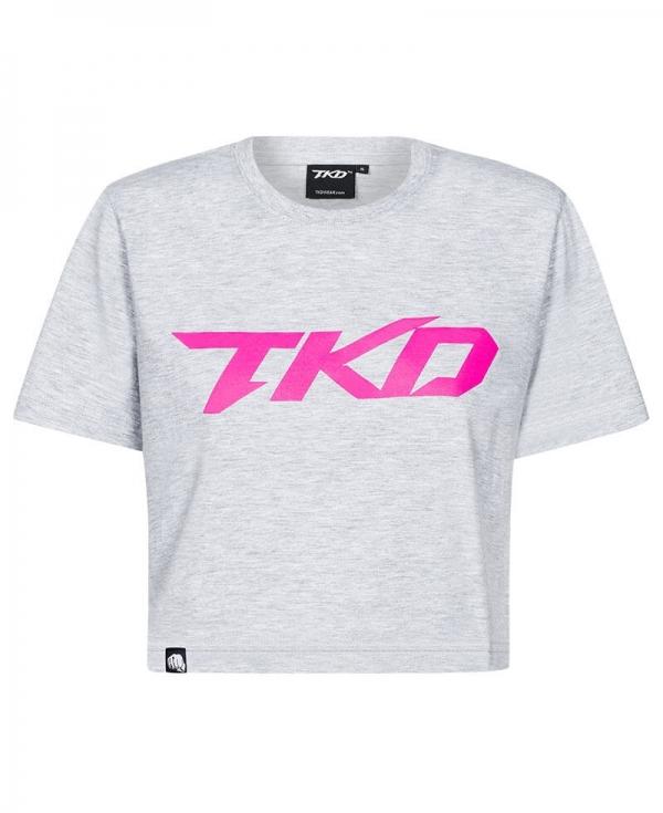 T-shirt TKD Crop top (Grey - Pink)